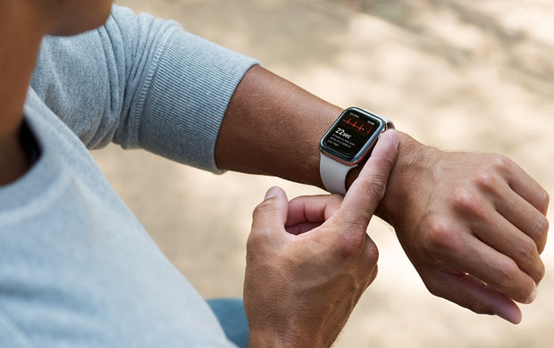 apple watch series for has larger screen and can take an electrocardiogram